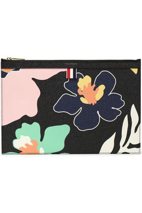 THOM BROWNE Floral-print leather pouch
