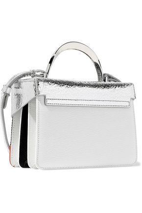 THE VOLON Sequined textured and metallic cracked-leather shoulder bag