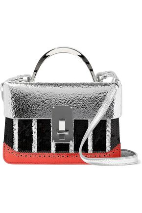 The Volon Sequined Textured And Metallic Ed Leather Shoulder Bag