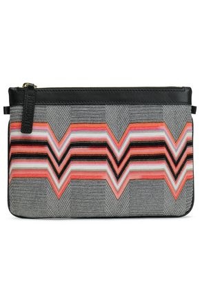 MISSONI Leather-trimmed intarsia-knit pouch