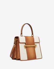 Large canvas and Calf Leather Uptown top-handle bag