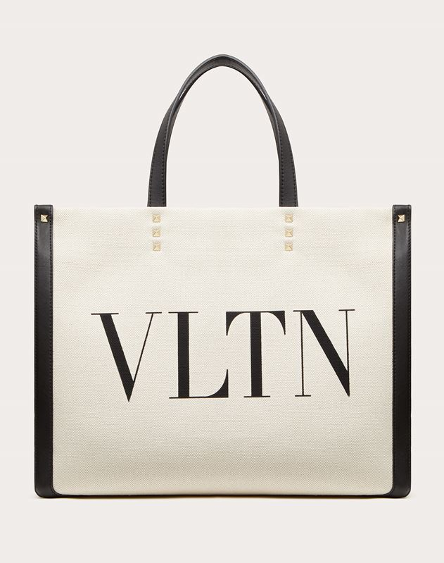 Borsa Shopping Piccola in Canvas con stampa VLTN