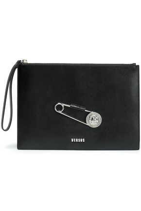 VERSUS VERSACE Embellished textured-leather pouch