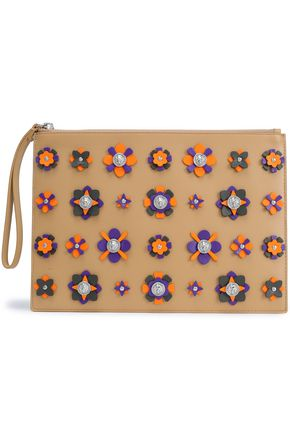 VERSUS VERSACE Embellished floral-appliquéd leather pouch