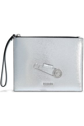 VERSUS VERSACE Embellished metallic textured-leather pouch