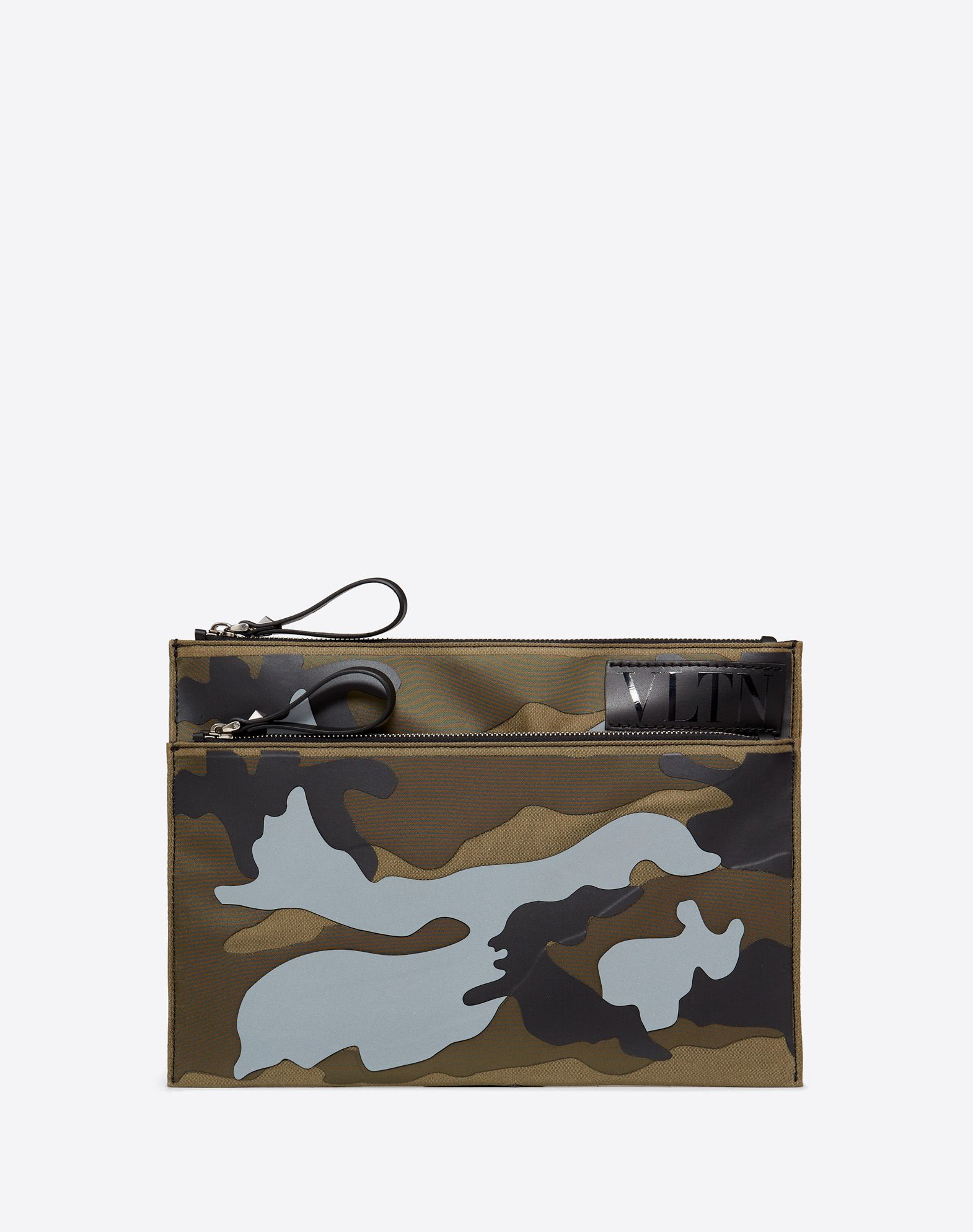 VLTN CAMOUFLAGE MEDIUM SHINY CANVAS MESSENGER BAG WITH REFLECTIVE DETAIL