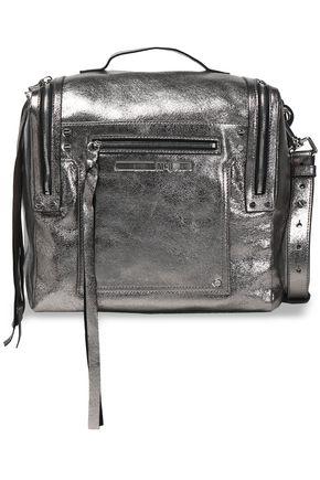 McQ Alexander McQueen Convertible metallic cracked-leather backpack