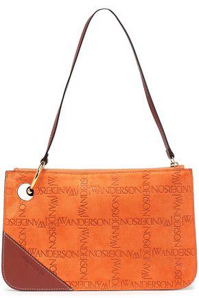 J.W.ANDERSON Embossed leather-paneled suede shoulder bag