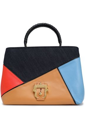 PAULA CADEMARTORI Denim-paneled color-block leather tote