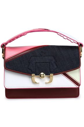 PAULA CADEMARTORI Denim-paneled color-block leather shoulder bag