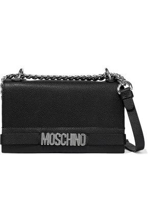 MOSCHINO Chain-trimmed pebbled-leather shoulder bag