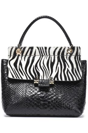 LANVIN Printed calf hair-paneled python shoulder bag
