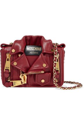 MOSCHINO Embellished quilted leather shoulder bag