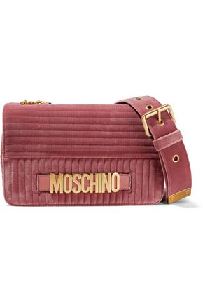 MOSCHINO Quilted velvet shoulder bag
