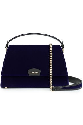 LANVIN Leather-trimmed velvet shoulder bag