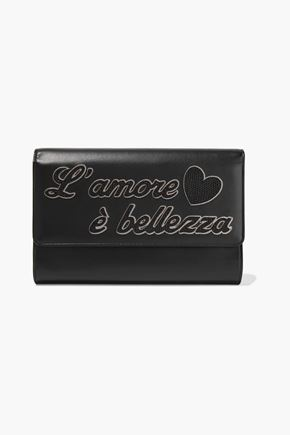 DOLCE & GABBANA L'Amour appliquéd leather clutch