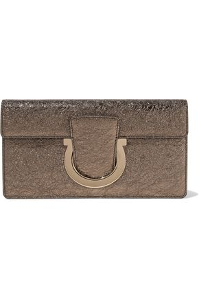 SALVATORE FERRAGAMO Metallic crinkled leather clutch