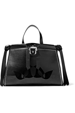 PAULA CADEMARTORI Rachel Love suede-paneled smooth and lizard-effect leather tote