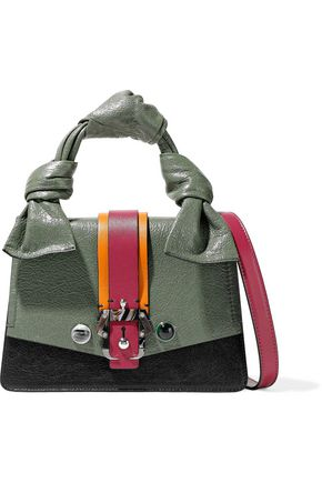 PAULA CADEMARTORI Color-block cracked-leather shoulder bag