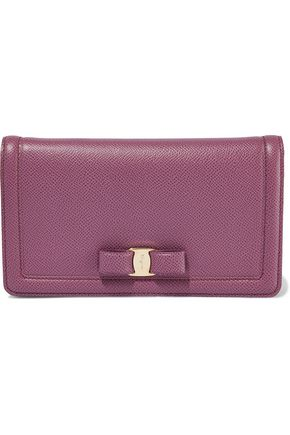 SALVATORE FERRAGAMO Bow-embellished textured-leather clutch