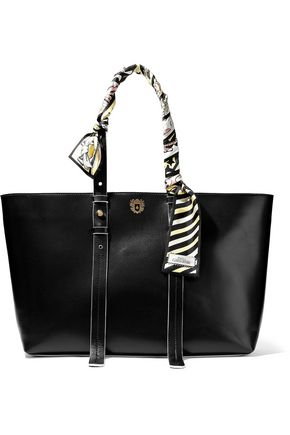 PAULA CADEMARTORI Helen printed silk-trimmed leather tote