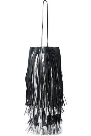 CALVIN KLEIN 205W39NYC Fringed matte and metallic leather bucket bag