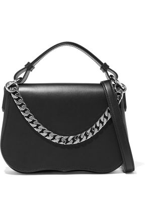 CALVIN KLEIN 205W39NYC Chain-trimmed fringed leather shoulder bag