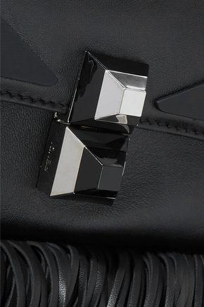 FENDI Baguette studded fringed leather shoulder bag