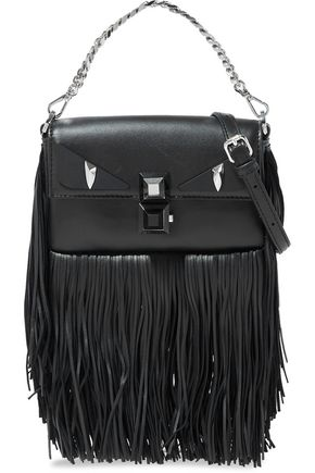 FENDI Baguette studded fringed leather shoulder bag b9de3a2a38096