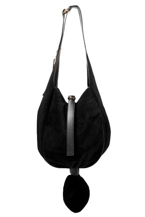 J.W.ANDERSON Knot leather-trimmed suede shoulder bag 6d26a6046d51a