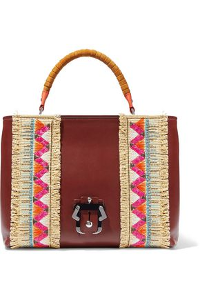 PAULA CADEMARTORI Mae embroidered straw-paneled leather tote