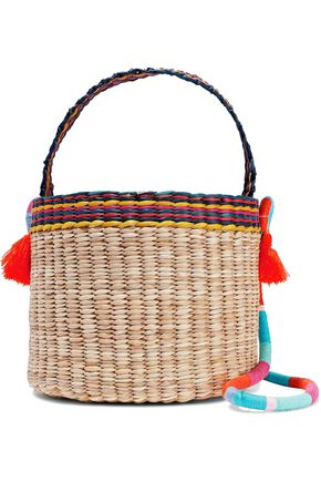 NANNACAY Nica tasseled woven straw bucket bag