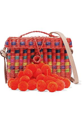 NANNACAY Baby Roge pompom-embellished woven straw shoulder bag