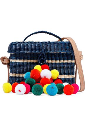 NANNACAY Baby Roge pompom-embellished striped woven straw shoulder bag