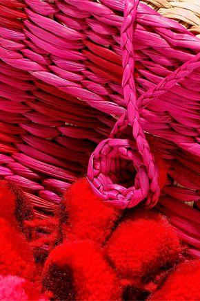 NANNACAY Baby Roge pompom-embellished woven raffia shoulder bag