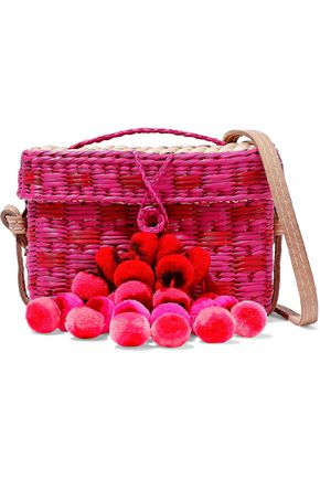 NANNACAY Baby Roge pompom-embellished woven raffia shoulder bag