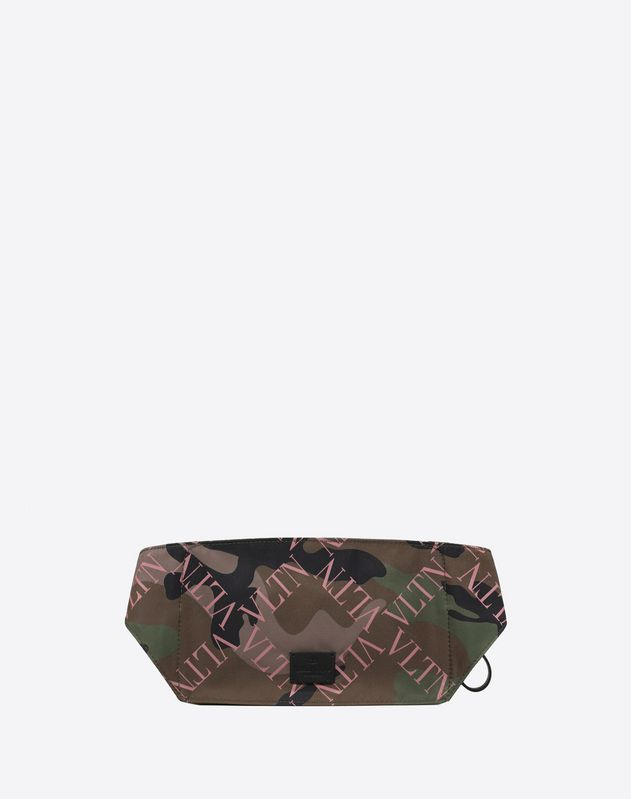 NYLON VLTN GRID BELT BAG WITH GORILLA EMBROIDERY