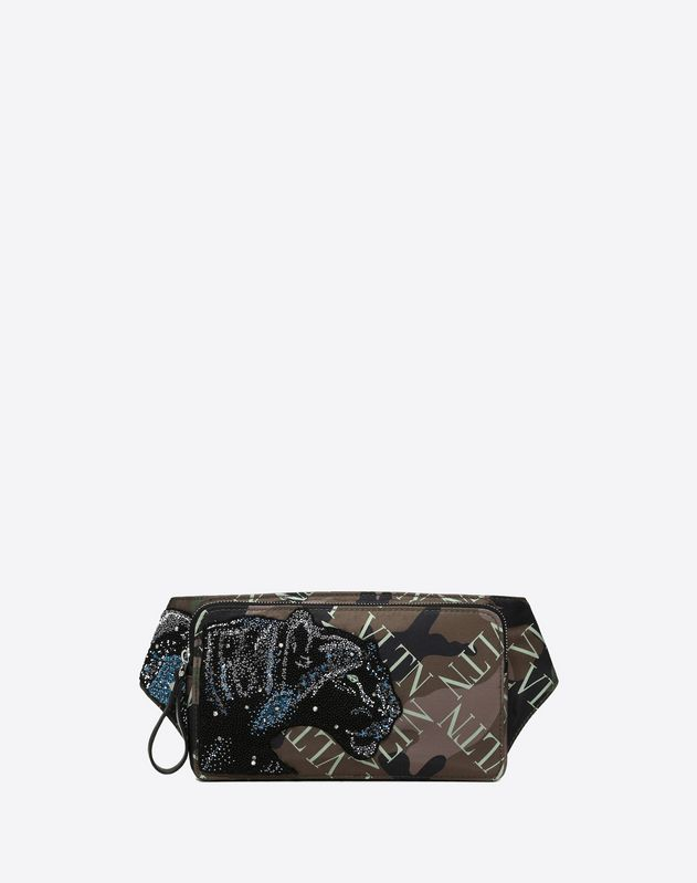 VLTN Animals crossbody bag with panther embroidery