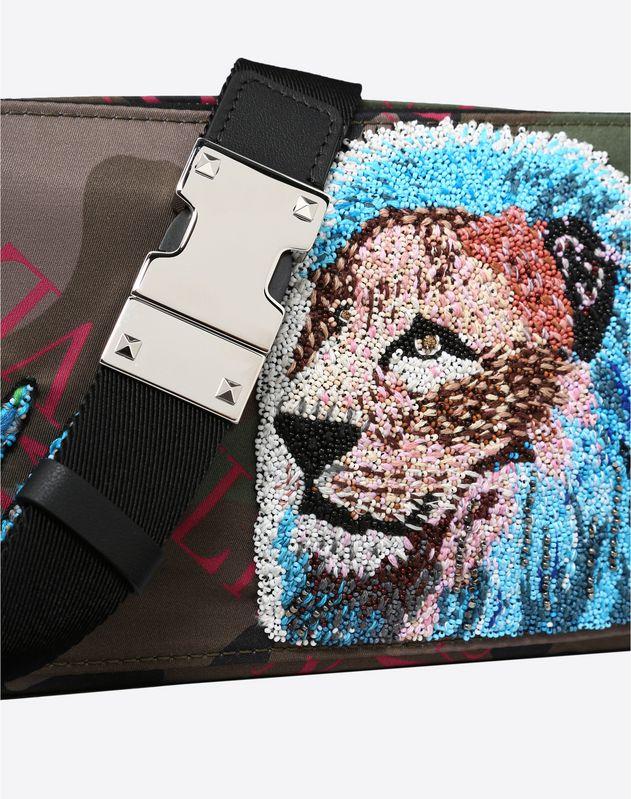 NYLON VLTN GRID BELT BAG WITH LION EMBROIDERY