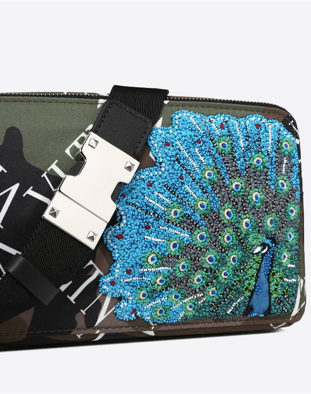 NYLON VLTN GRID BELT BAG WITH PEACOCK EMBROIDERY
