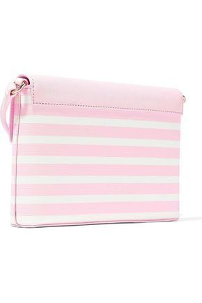 KATE SPADE New York Monday striped faux textured-leather shoulder bag
