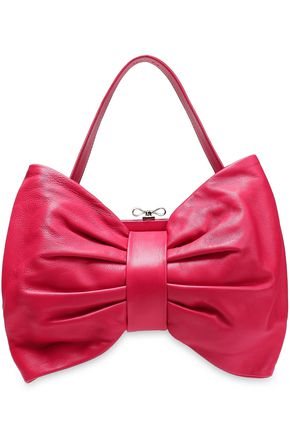 RED(V) Bow-detailed leather tote