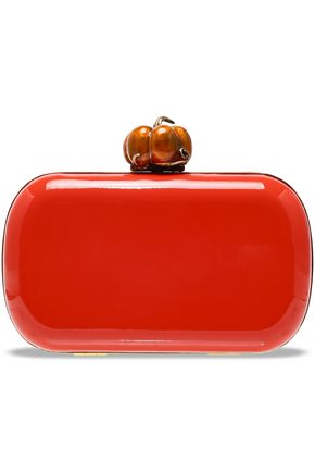 RED(V) Embellished faux patent-leather clutch