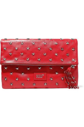 RED(V) Studded leather clutch