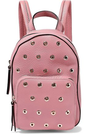 RED(V) Eyelet-embellished pebbled-leather backpack