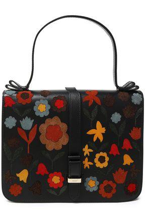 RED(V) Suede-trimmed leather shoulder bag