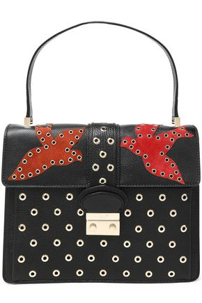 RED(V) Eyelet-embellished suede and leather tote