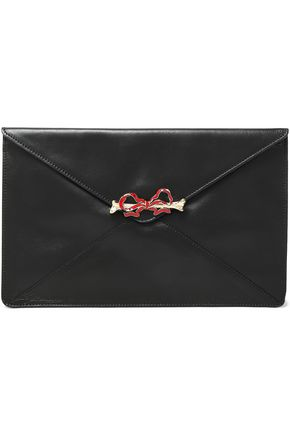 RED(V) Embellished leather clutch