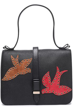 RED(V) Eyelet-embellished suede-trimmed textured-leather shoulder bag