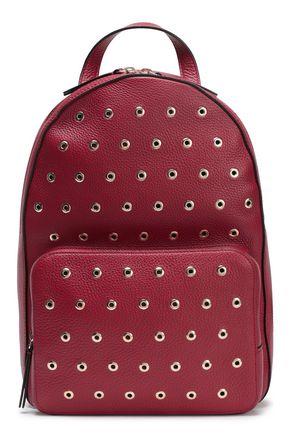 RED(V) Studded textured-leather backpack